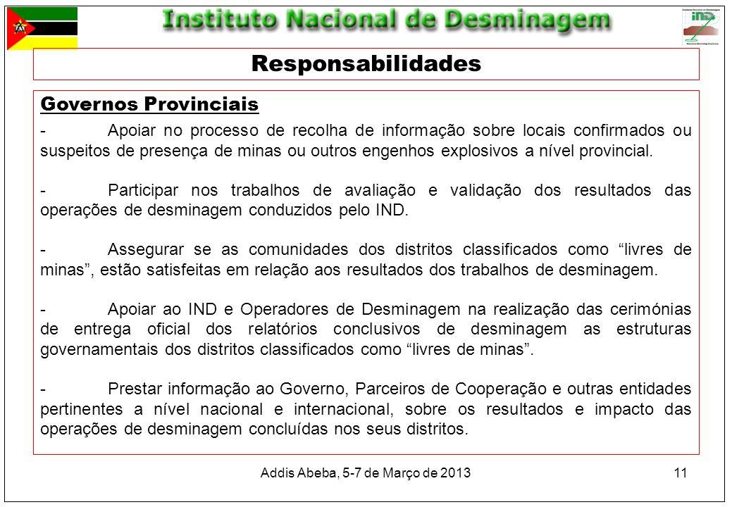 Addis Abeba, 5-7 de Março de 201311 Responsabilidades Governos Provinciais -Apoiar no processo de recolha de informação sobre locais confirmados ou su