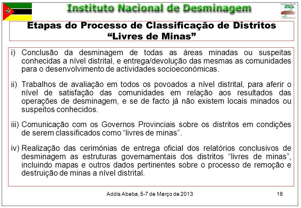 Addis Abeba, 5-7 de Março de 2013 16 Etapas do Processo de Classificação de Distritos Livres de Minas i)Conclusão da desminagem de todas as áreas mina
