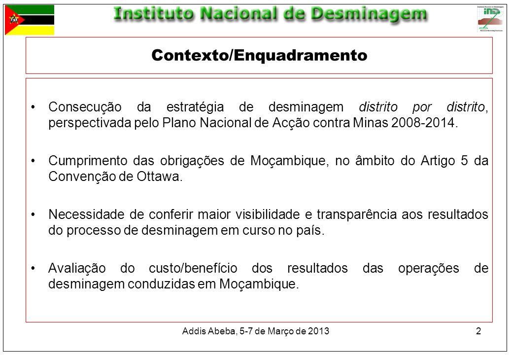 Contexto/Enquadramento Consecução da estratégia de desminagem distrito por distrito, perspectivada pelo Plano Nacional de Acção contra Minas 2008-2014