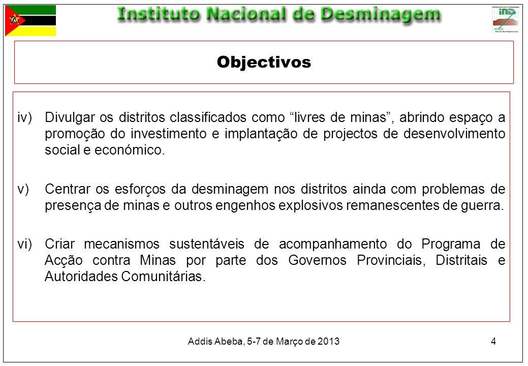 4 iv)Divulgar os distritos classificados como livres de minas, abrindo espaço a promoção do investimento e implantação de projectos de desenvolvimento