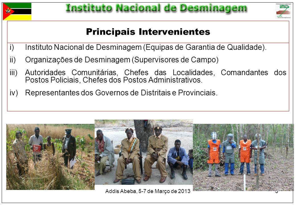 5 i)Instituto Nacional de Desminagem (Equipas de Garantia de Qualidade). ii)Organizações de Desminagem (Supervisores de Campo) iii)Autoridades Comunit