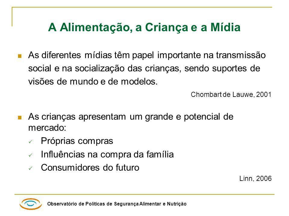 Observatório de Políticas de Segurança Alimentar e Nutrição Distribuição percentual das peças publicitárias de alimentos, segundo as diferentes emissoras, Brasil 2006-2007.