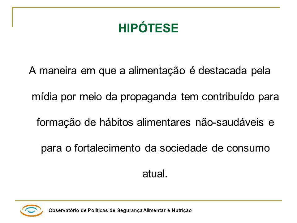 Observatório de Políticas de Segurança Alimentar e Nutrição Distribuição dos alimentos mais freqüentemente anunciados, Discovery Kids, Brasil 2006-2007.
