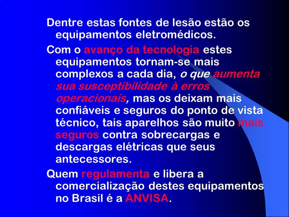 Atualmente os equipamentos eletromédicos comercializados no Brasil devem atender a um conjunto de requisitos e normas: –RDC 50: Boas Práticas de Fabricação de equipamentos médicos –NBR IEC 60601-1: Equipamento Eletromédico – Prescrições Gerais para Segurança ; e normas técnicas particulares da série NBR IEC 60601-2 –Possuir certificado de conformidade do SBC (Sistema Brasileiro de Certificação) –Registro do produto (ativo) na ANVISA