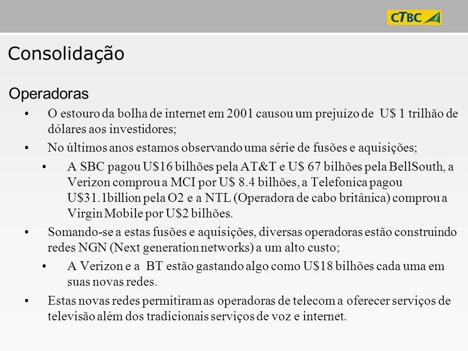 Consolidação O estouro da bolha de internet em 2001 causou um prejuízo de U$ 1 trilhão de dólares aos investidores; No últimos anos estamos observando