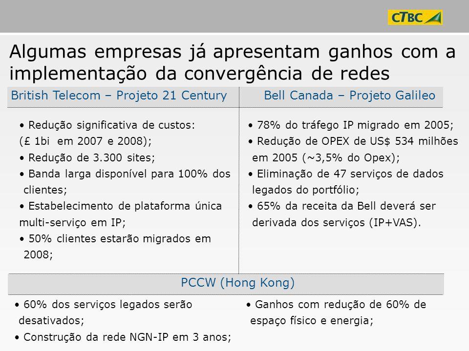Redução significativa de custos: (£ 1bi em 2007 e 2008); Redução de 3.300 sites; Banda larga disponível para 100% dos clientes; Estabelecimento de pla