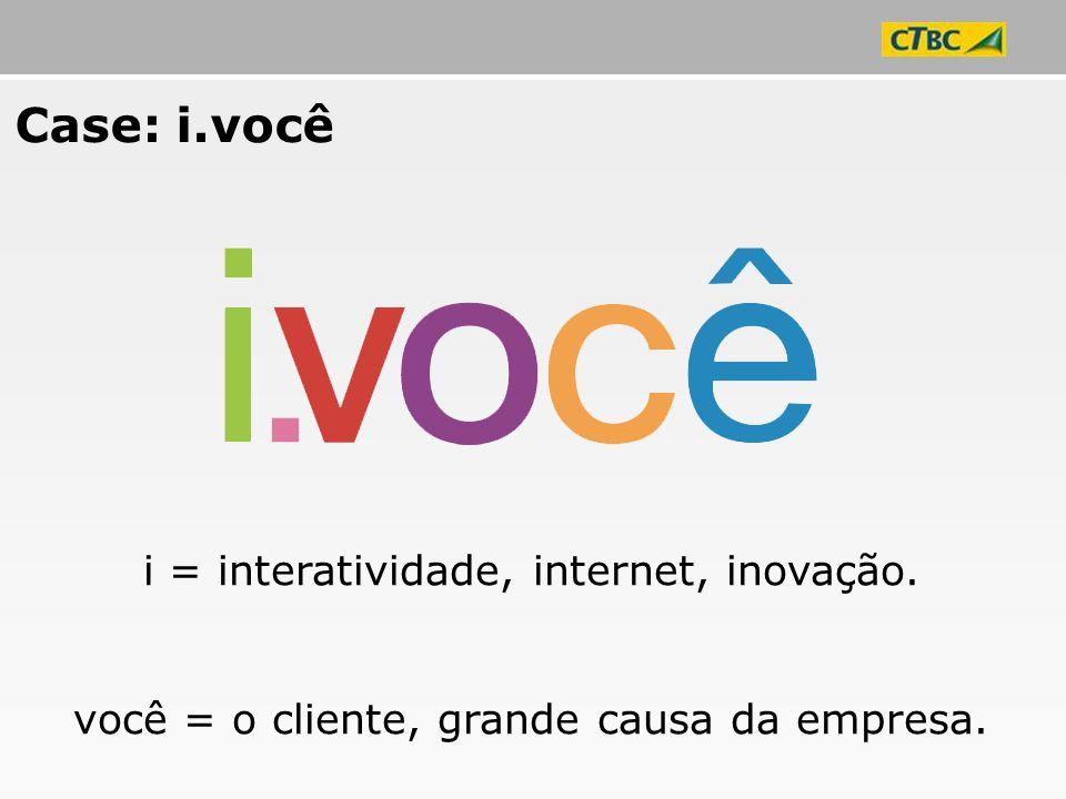 i = interatividade, internet, inovação. você = o cliente, grande causa da empresa. Case: i.você