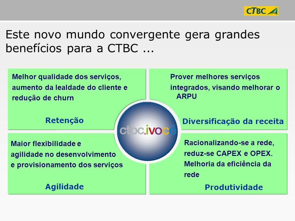 Este novo mundo convergente gera grandes benefícios para a CTBC... Melhor qualidade dos serviços, aumento da lealdade do cliente e redução de churn Pr