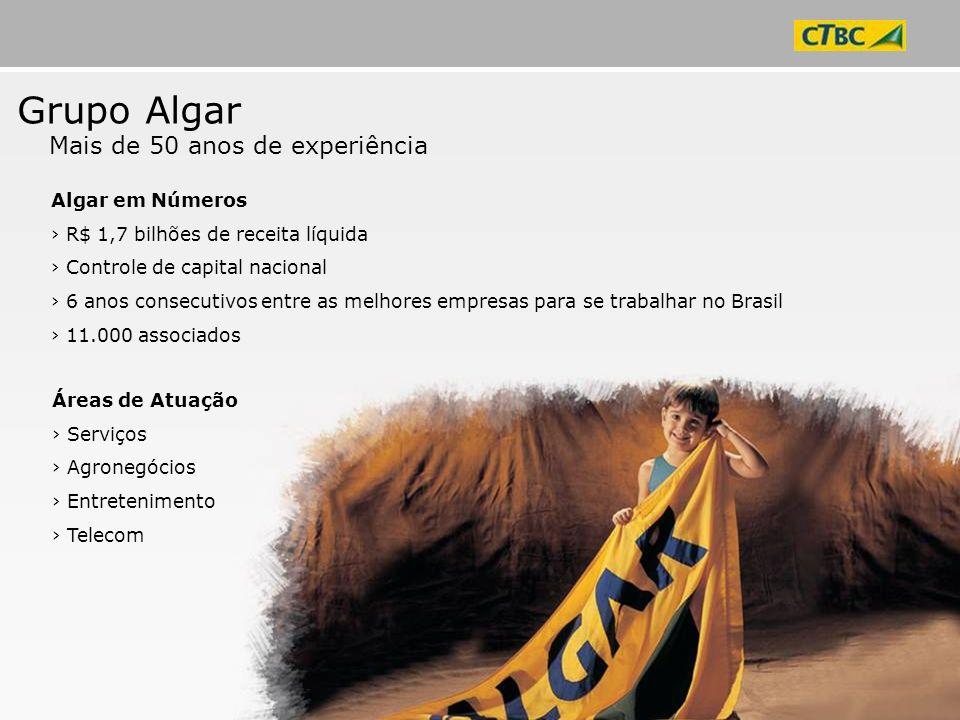 Áreas de Atuação Serviços Agronegócios Entretenimento Telecom Grupo Algar Mais de 50 anos de experiência Algar em Números R$ 1,7 bilhões de receita lí