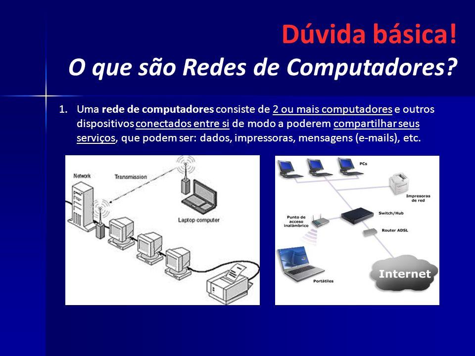 Dúvida básica! O que são Redes de Computadores? 1. 1.Uma rede de computadores consiste de 2 ou mais computadores e outros dispositivos conectados entr