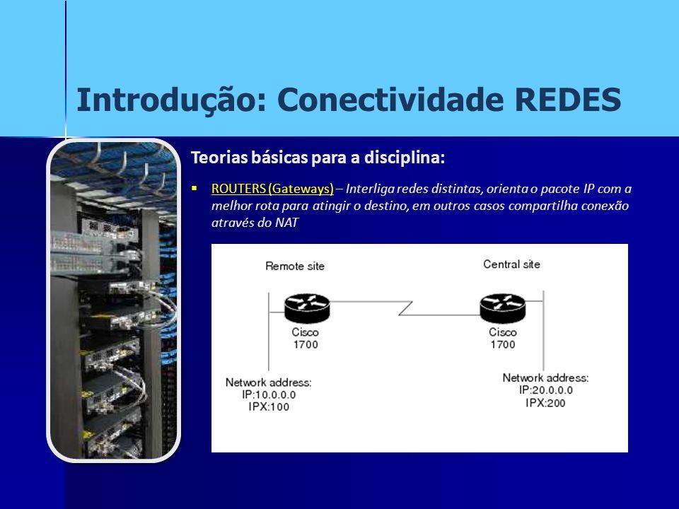 Introdução: Conectividade REDES Teorias básicas para a disciplina: ROUTERS (Gateways) – Interliga redes distintas, orienta o pacote IP com a melhor ro