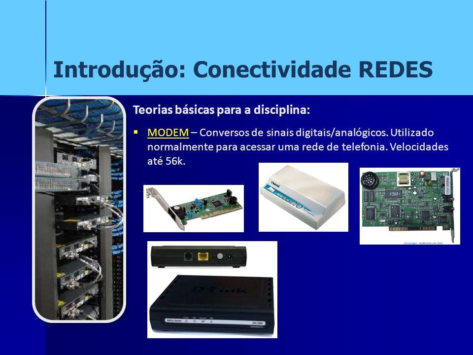 Introdução: Conectividade REDES Teorias básicas para a disciplina: MODEM – Conversos de sinais digitais/analógicos. Utilizado normalmente para acessar