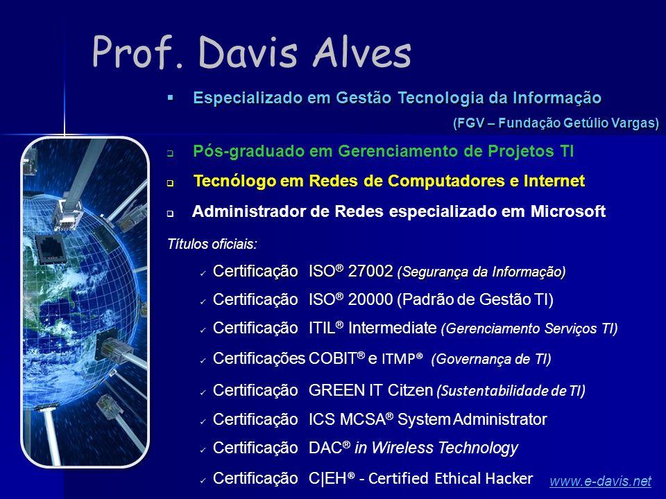 Prof. Davis Alves Especializado em Gestão Tecnologia da Informação Especializado em Gestão Tecnologia da Informação (FGV – Fundação Getúlio Vargas) Pó