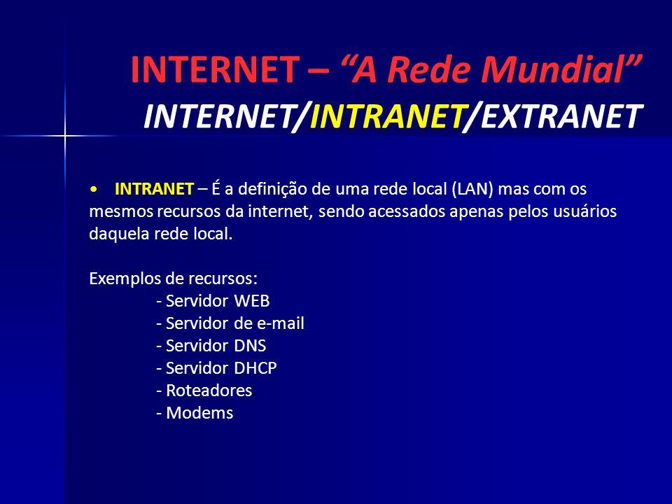 INTERNET – A Rede Mundial INTERNET/INTRANET/EXTRANET INTRANET – É a definição de uma rede local (LAN) mas com os mesmos recursos da internet, sendo ac