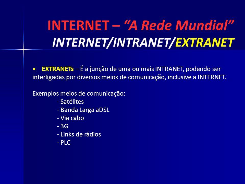 INTERNET – A Rede Mundial INTERNET/INTRANET/EXTRANET EXTRANETs – É a junção de uma ou mais INTRANET, podendo ser interligadas por diversos meios de co