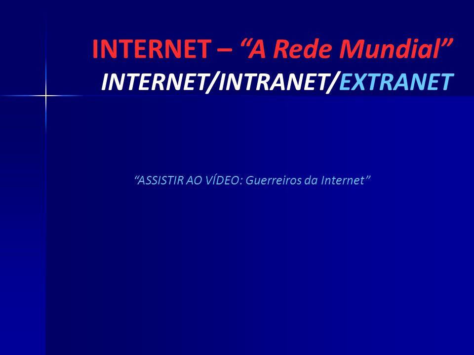 INTERNET – A Rede Mundial INTERNET/INTRANET/EXTRANET ASSISTIR AO VÍDEO: Guerreiros da Internet
