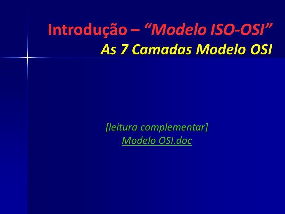[leitura complementar] Modelo OSI.doc Introdução – Modelo ISO-OSI As 7 Camadas Modelo OSI