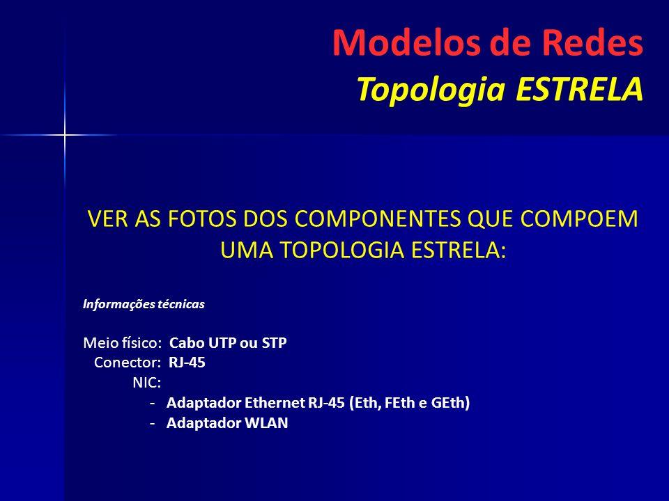 VER AS FOTOS DOS COMPONENTES QUE COMPOEM UMA TOPOLOGIA ESTRELA: Informações técnicas Meio físico: Cabo UTP ou STP Conector: RJ-45 NIC: - -Adaptador Et