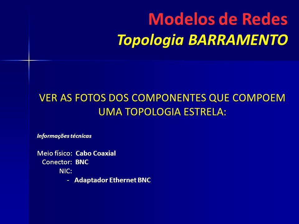 VER AS FOTOS DOS COMPONENTES QUE COMPOEM UMA TOPOLOGIA ESTRELA: Informações técnicas Meio físico: Cabo Coaxial Conector: BNC NIC: - -Adaptador Etherne