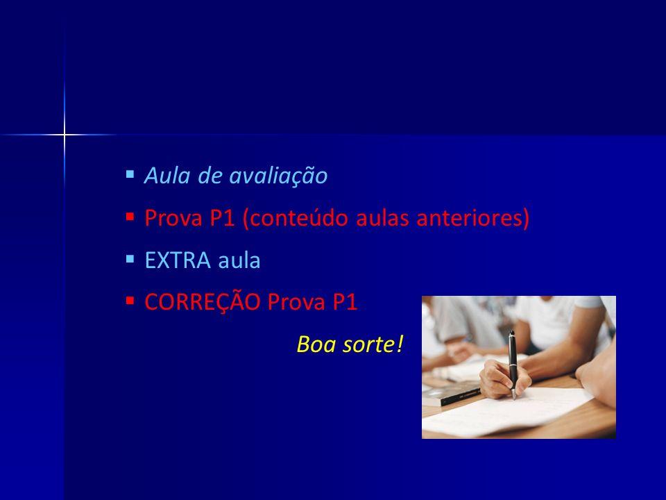Aula de avaliação Prova P1 (conteúdo aulas anteriores) EXTRA aula CORREÇÃO Prova P1 Boa sorte!