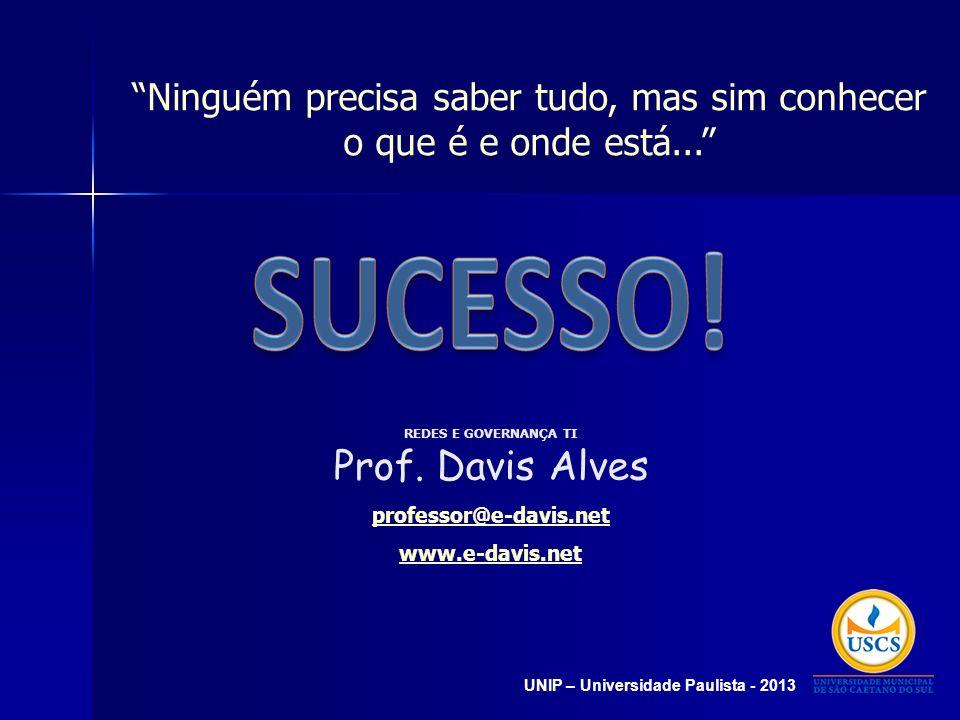 Ninguém precisa saber tudo, mas sim conhecer o que é e onde está... REDES E GOVERNANÇA TI Prof. Davis Alves professor@e-davis.net www.e-davis.net UNIP