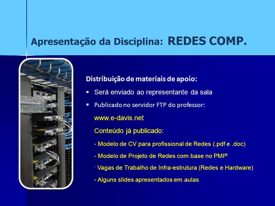 Distribuição de materiais de apoio: Será enviado ao representante da sala Publicado no servidor FTP do professor: www.e-davis.net Conteúdo já publicad