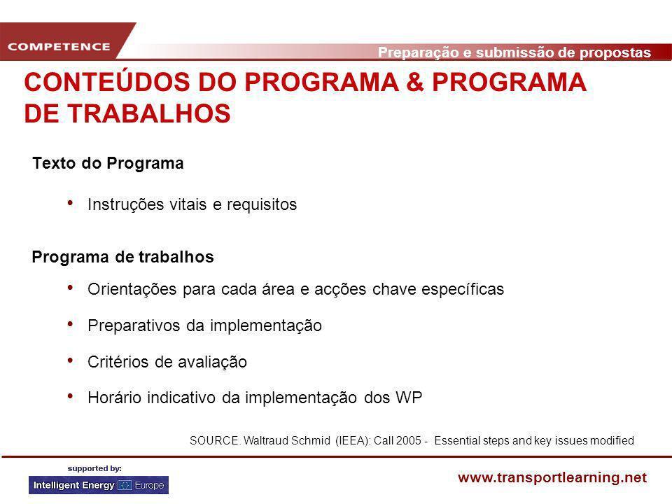 Preparação e submissão de propostas www.transportlearning.net Texto do Programa Instruções vitais e requisitos Programa de trabalhos Orientações para