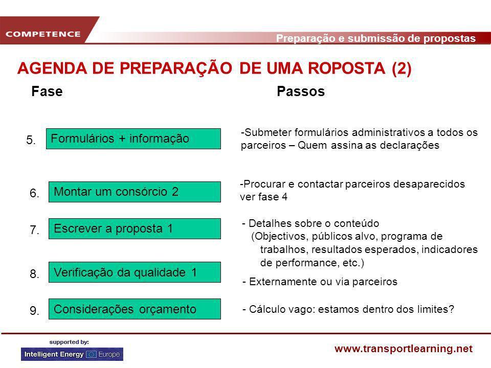 Preparação e submissão de propostas www.transportlearning.net AGENDA DE PREPARAÇÃO DE UMA ROPOSTA (2) Verificação da qualidade 1 8. Considerações orça