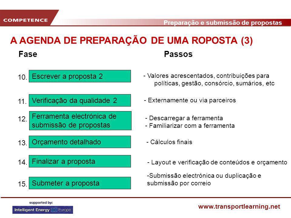 Preparação e submissão de propostas www.transportlearning.net A AGENDA DE PREPARAÇÃO DE UMA ROPOSTA (3) Escrever a proposta 2 10. - Valores acrescenta