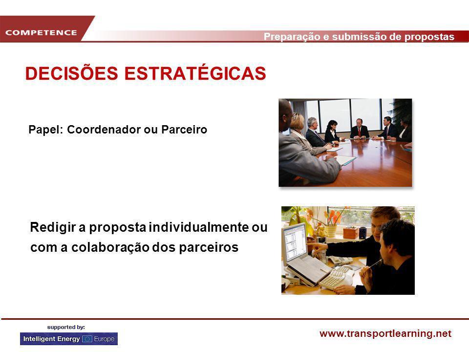 Preparação e submissão de propostas www.transportlearning.net DISSEMINAÇÃO / COMUNICAÇÃO SOURCE.