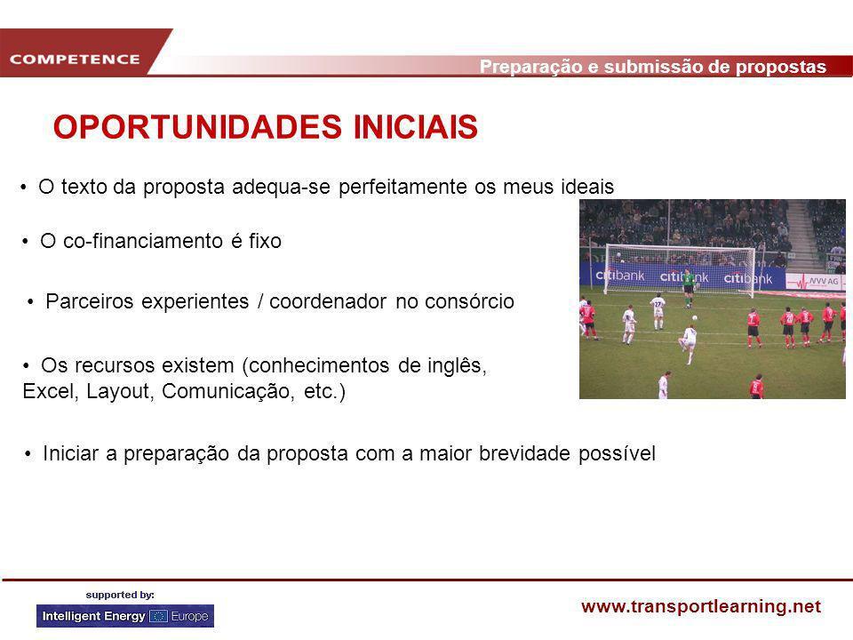 Preparação e submissão de propostas www.transportlearning.net AGENDA DE PREPARAÇÃO DE UMA ROPOSTA (1) FasePassos Decisão: Coordenador/Parceiros 3.