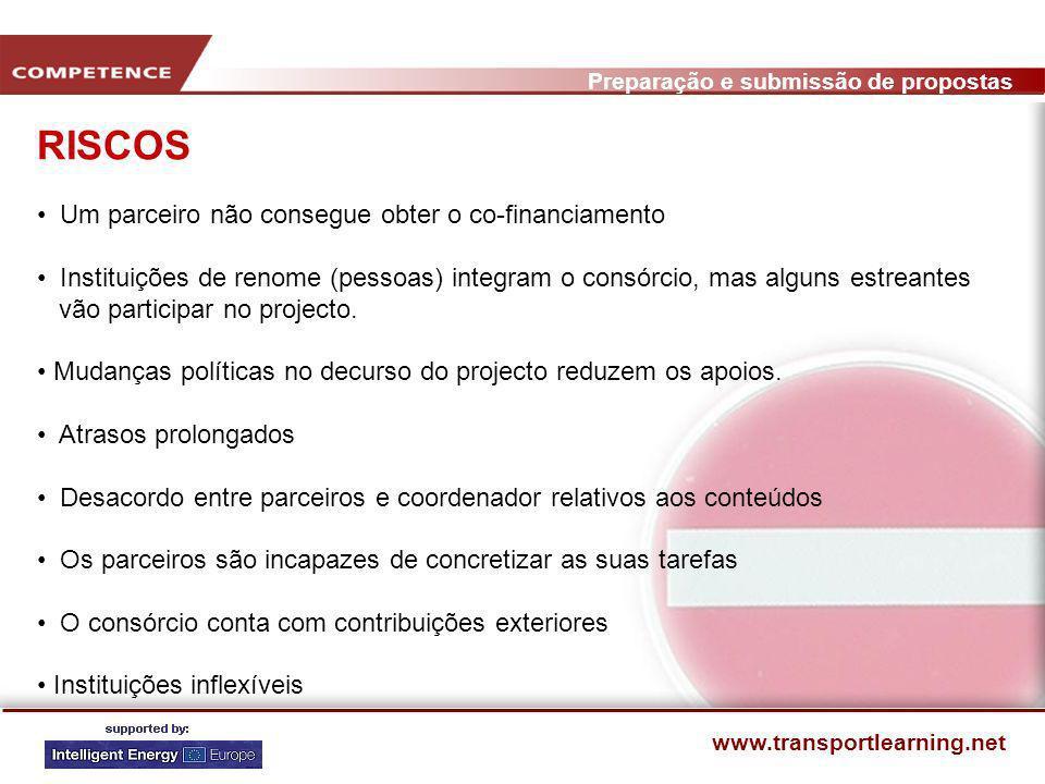 Preparação e submissão de propostas www.transportlearning.net CRITÉRIOS PARA O SUCESSO: STEER - CHECKLIST Respondemos a todas as condicionantes formais / administrativas.