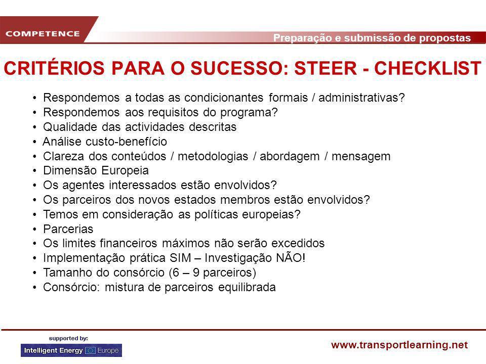 Preparação e submissão de propostas www.transportlearning.net CRITÉRIOS PARA O SUCESSO: STEER - CHECKLIST Respondemos a todas as condicionantes formai