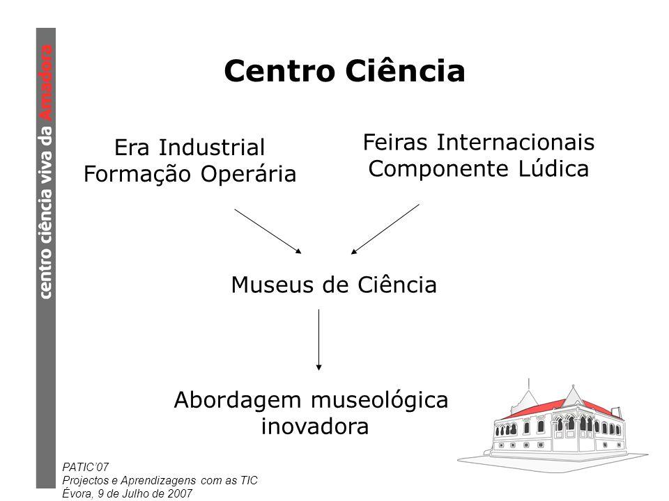 PATIC07 Projectos e Aprendizagens com as TIC Évora, 9 de Julho de 2007 Centro Ciência Era Industrial Formação Operária Feiras Internacionais Componente Lúdica Museus de Ciência Abordagem museológica inovadora