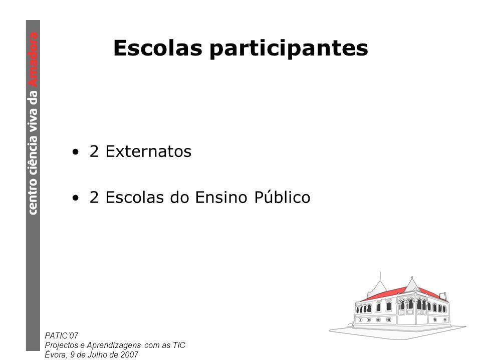 PATIC07 Projectos e Aprendizagens com as TIC Évora, 9 de Julho de 2007 Escolas participantes 2 Externatos 2 Escolas do Ensino Público