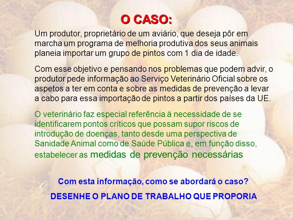 O CASO: Um produtor, proprietário de um aviário, que deseja pôr em marcha um programa de melhoria produtiva dos seus animais planeia importar um grupo