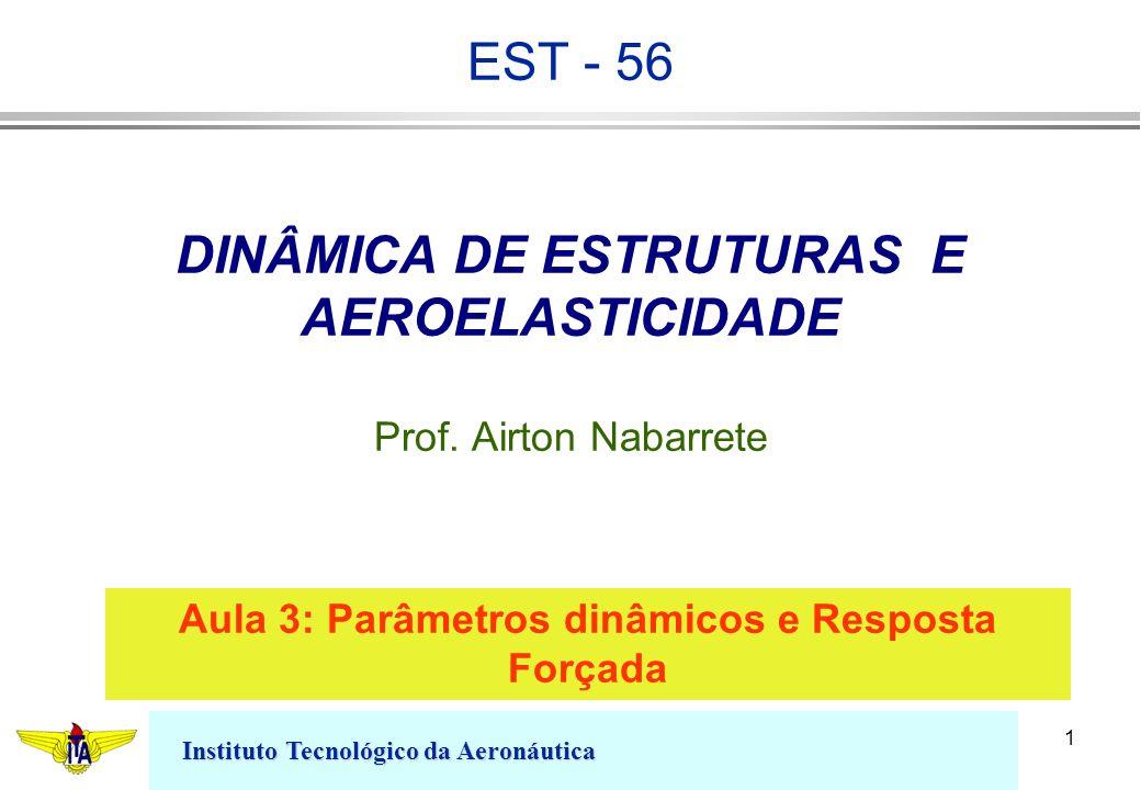 Instituto Tecnológico da Aeronáutica 1 DINÂMICA DE ESTRUTURAS E AEROELASTICIDADE Prof. Airton Nabarrete Aula 3: Parâmetros dinâmicos e Resposta Forçad