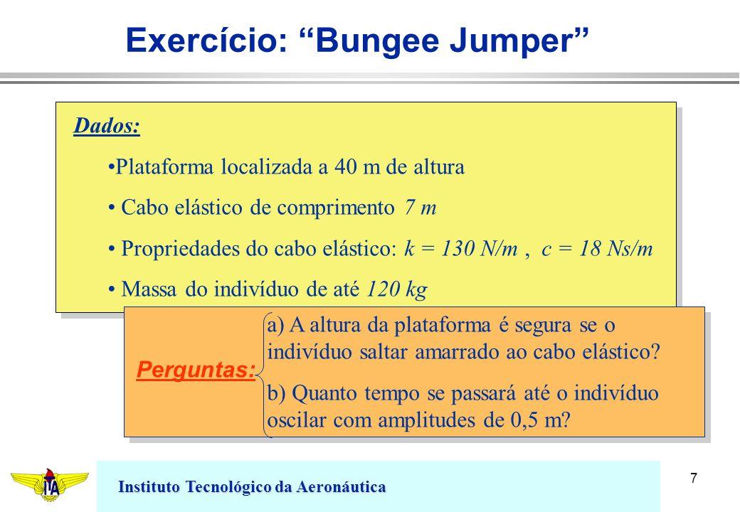 Instituto Tecnológico da Aeronáutica 7 Exercício: Bungee Jumper Dados: Plataforma localizada a 40 m de altura Cabo elástico de comprimento 7 m Proprie