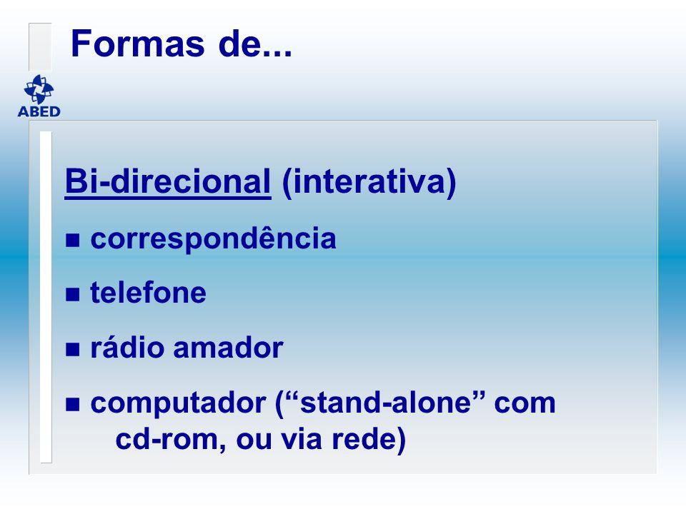 Bi-direcional (interativa) n correspondência n telefone n rádio amador n computador (stand-alone com cd-rom, ou via rede) Formas de...
