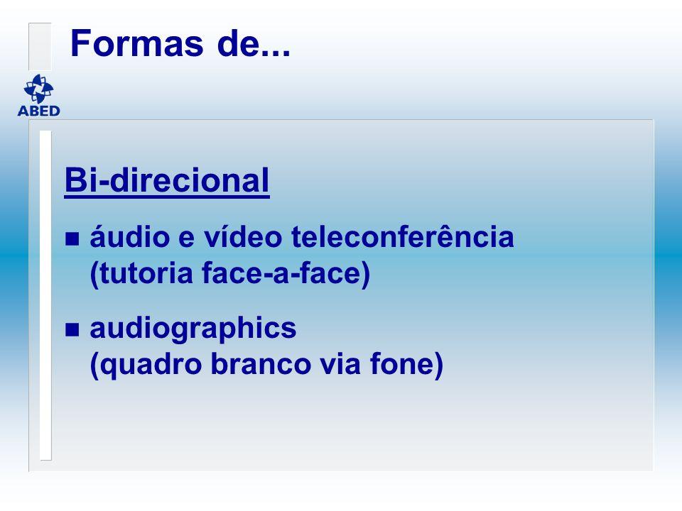 Bi-direcional n áudio e vídeo teleconferência (tutoria face-a-face) n audiographics (quadro branco via fone) Formas de...