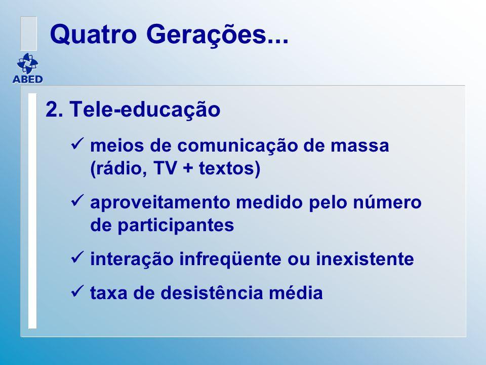 2. Tele-educação meios de comunicação de massa (rádio, TV + textos) aproveitamento medido pelo número de participantes interação infreqüente ou inexis