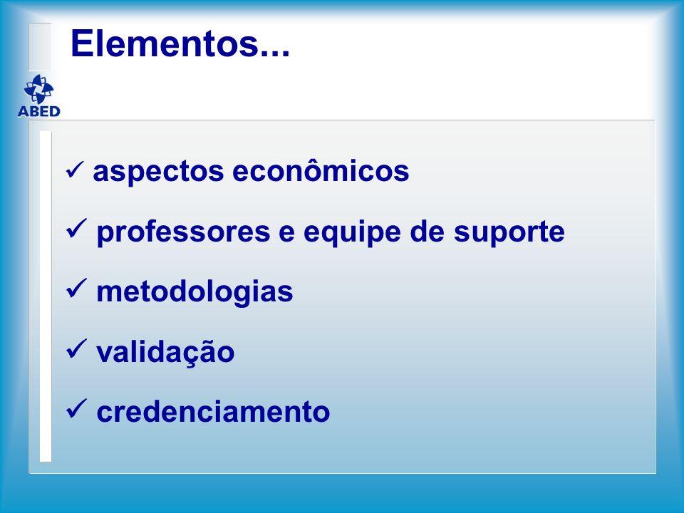 Elementos... aspectos econômicos professores e equipe de suporte metodologias validação credenciamento