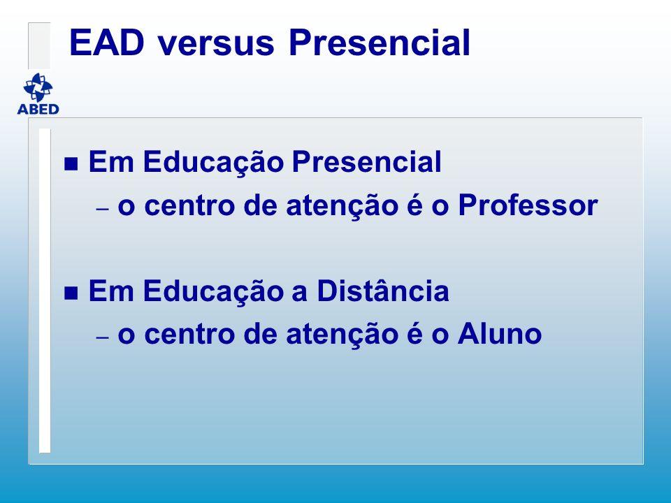 EAD versus Presencial n Em Educação Presencial – o centro de atenção é o Professor n Em Educação a Distância – o centro de atenção é o Aluno