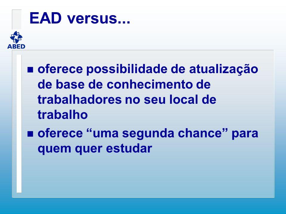 EAD versus... n oferece possibilidade de atualização de base de conhecimento de trabalhadores no seu local de trabalho n oferece uma segunda chance pa