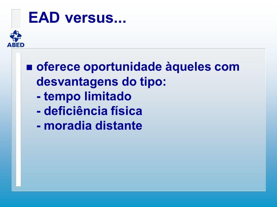EAD versus... n oferece oportunidade àqueles com desvantagens do tipo: - tempo limitado - deficiência física - moradia distante