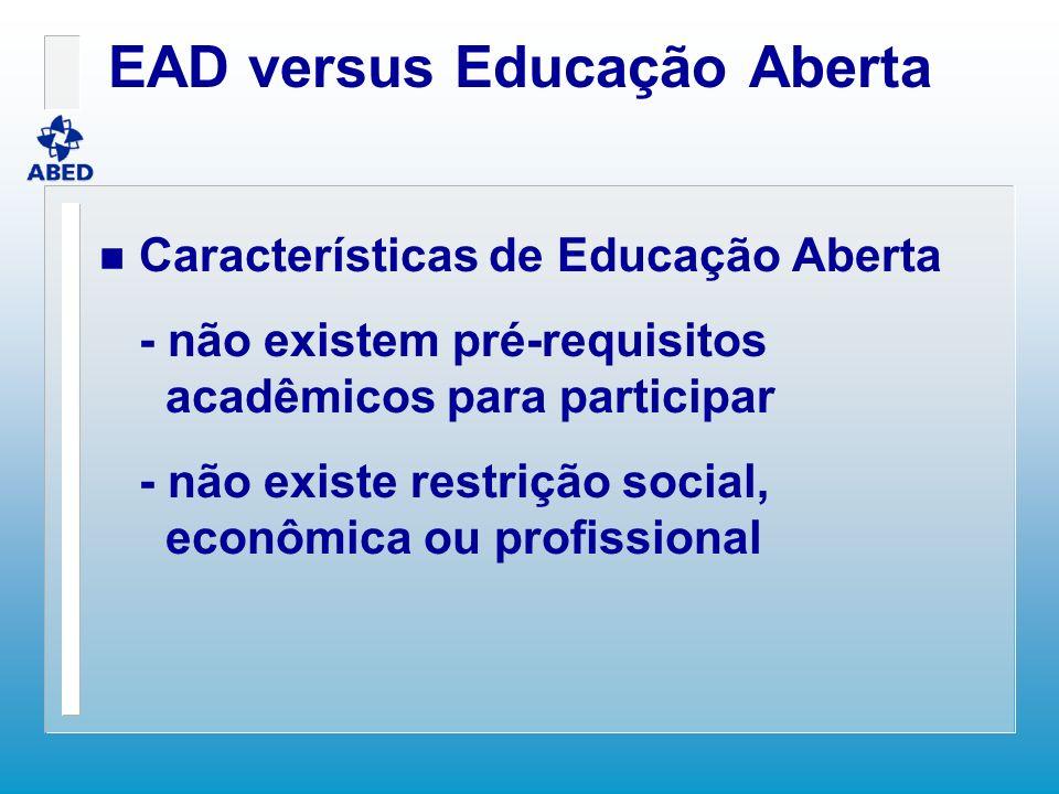EAD versus Educação Aberta n Características de Educação Aberta - não existem pré-requisitos acadêmicos para participar - não existe restrição social,