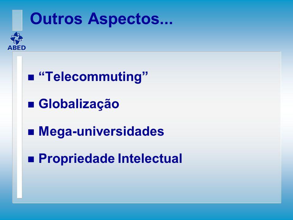 Outros Aspectos... n Telecommuting n Globalização n Mega-universidades n Propriedade Intelectual