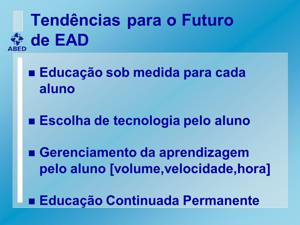 Tendências para o Futuro de EAD n Educação sob medida para cada aluno n Escolha de tecnologia pelo aluno n Gerenciamento da aprendizagem pelo aluno [v