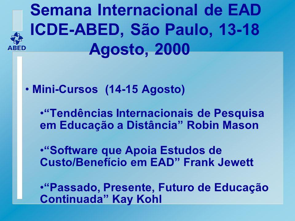 Semana Internacional de EAD ICDE-ABED, São Paulo, 13-18 Agosto, 2000 Mini-Cursos (14-15 Agosto) Tendências Internacionais de Pesquisa em Educação a Di