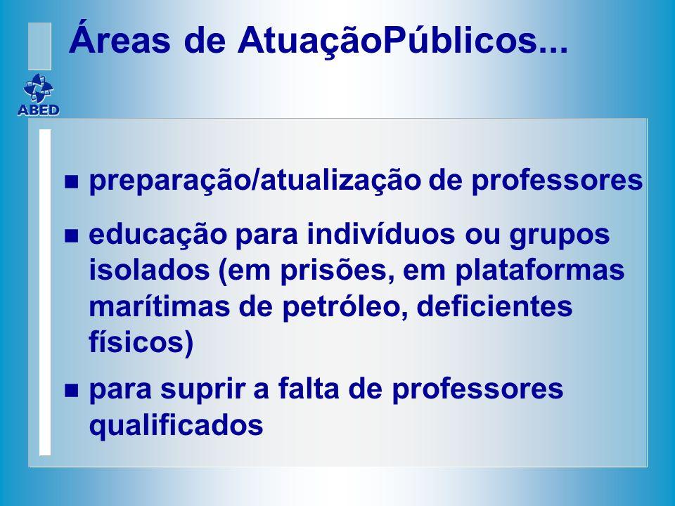 n preparação/atualização de professores n educação para indivíduos ou grupos isolados (em prisões, em plataformas marítimas de petróleo, deficientes f
